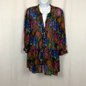 Cynthia Steffe sheer pleated no collar blouse M